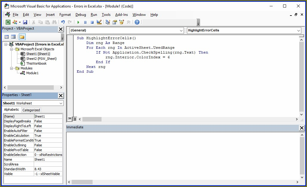 Vba Find Cells With Errors