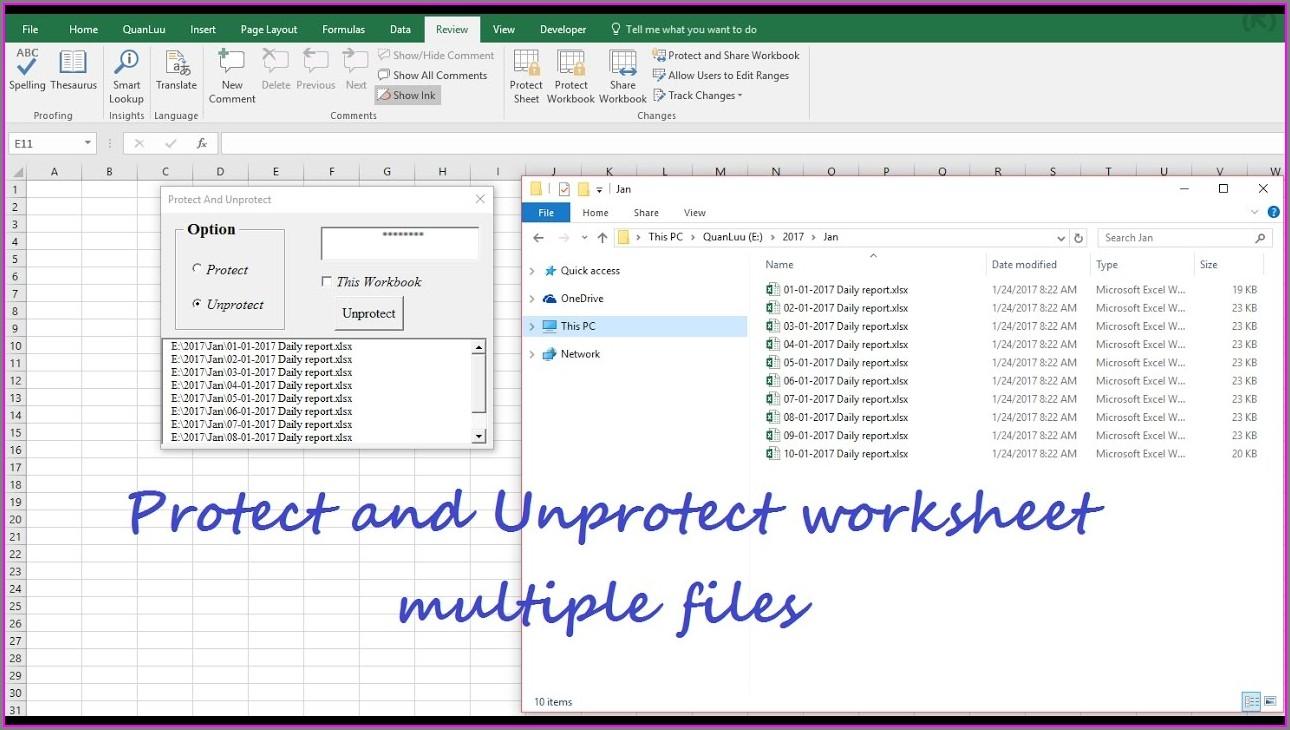 Vba Protect Multiple Worksheets