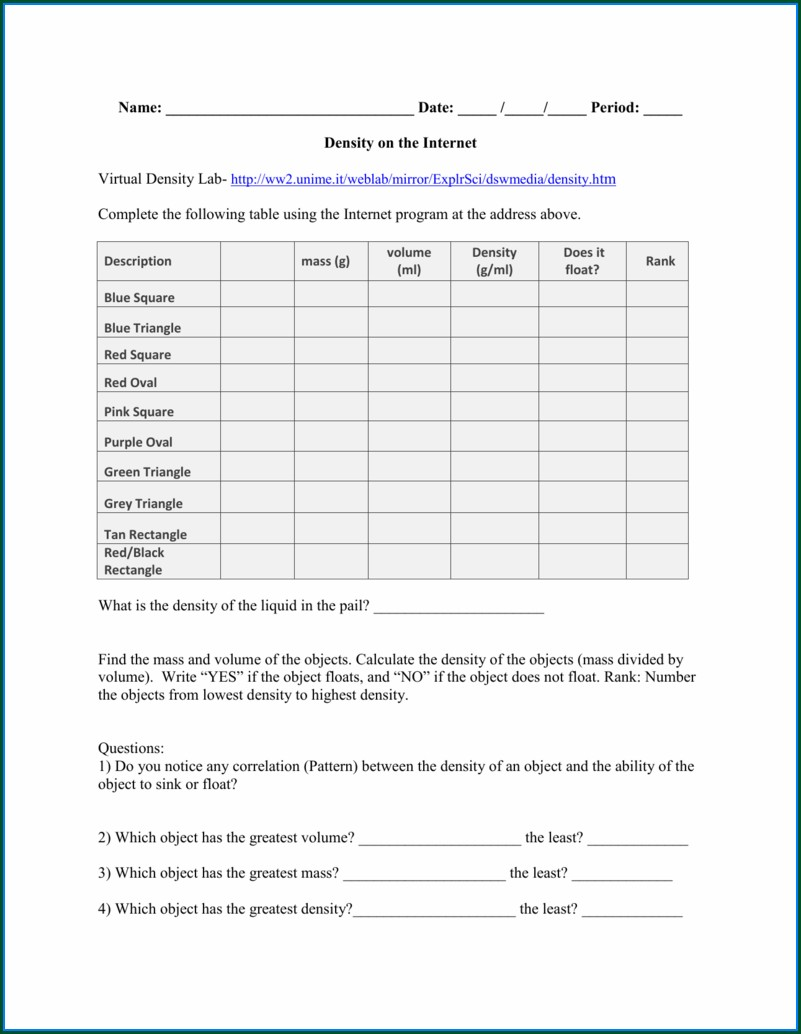 Virtual Density Lab Worksheet