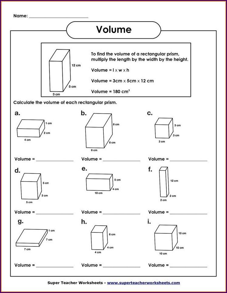 Volume Word Problems Worksheet 7th Grade