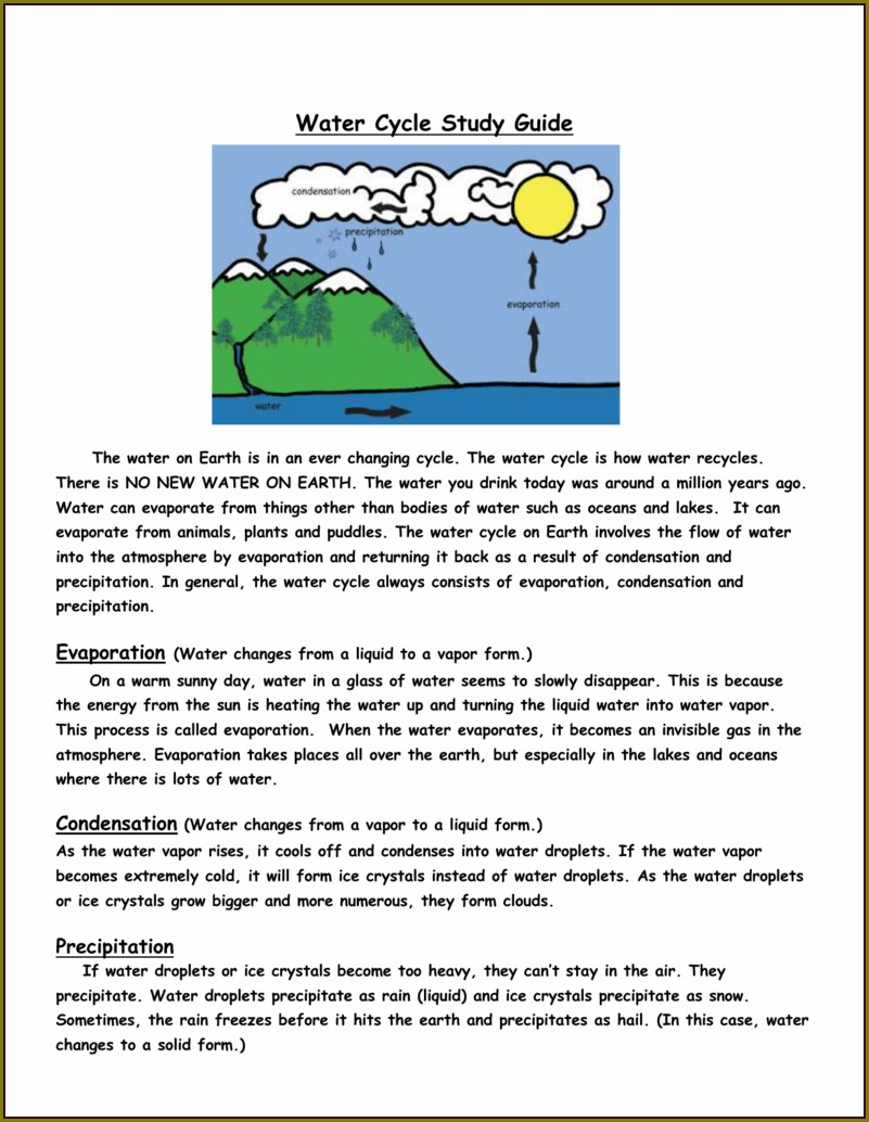 Water Cycle Cloze Worksheet Answers