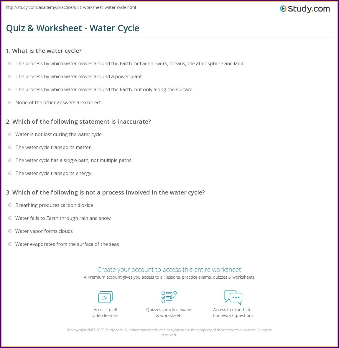 Water Cycle Questions Worksheet