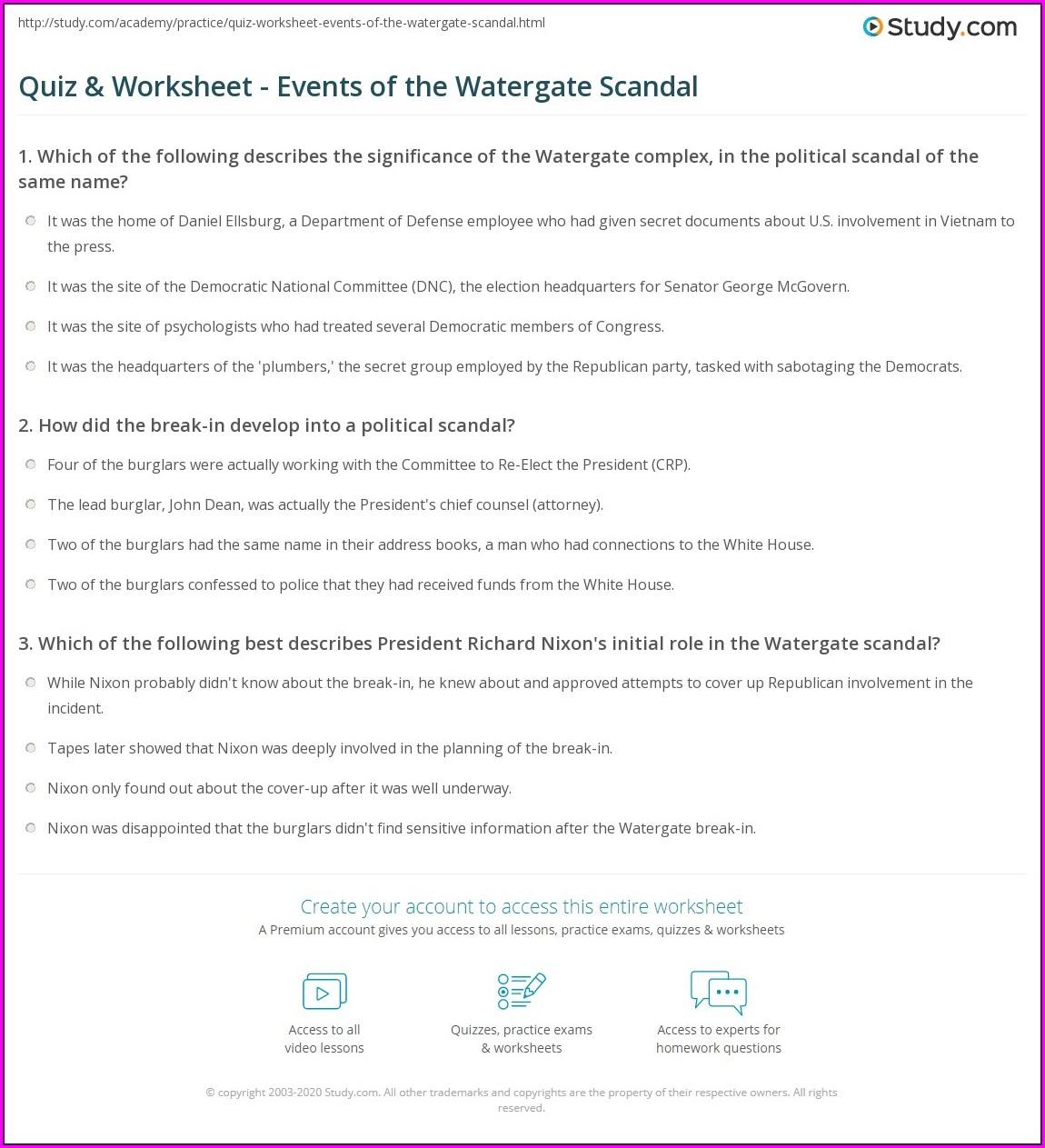 Watergate Scandal Timeline Worksheet