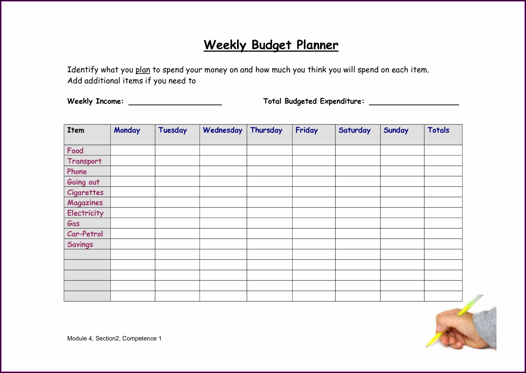 Weekly Printable Budget Worksheet