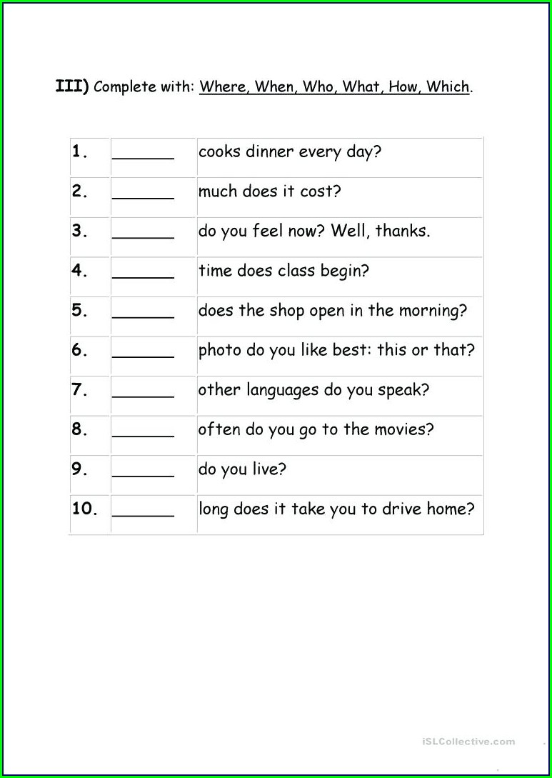 Wh Question Words Worksheets Free