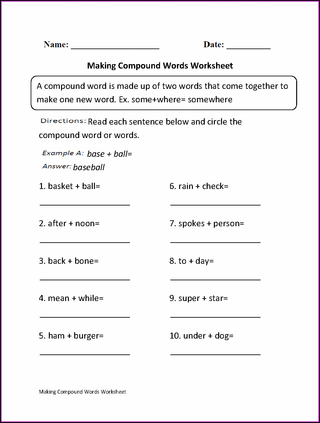 What Is A Compound Word Worksheet