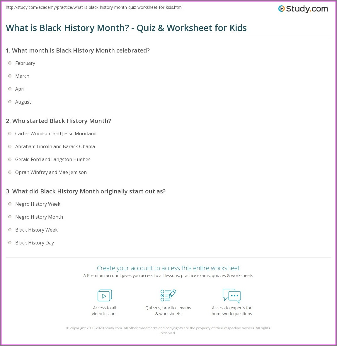 What Is Black History Month Worksheet