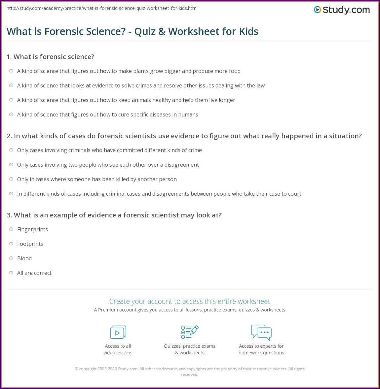 What Is Forensic Science Worksheet