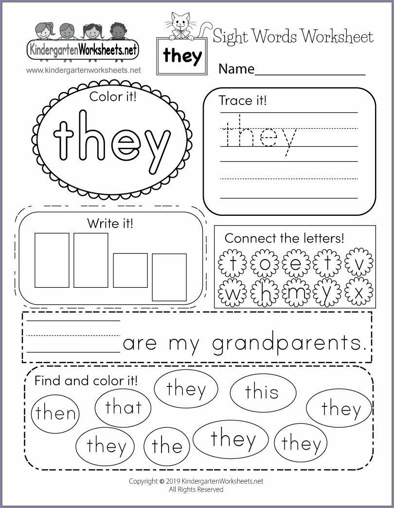 What Sight Word Worksheet Free