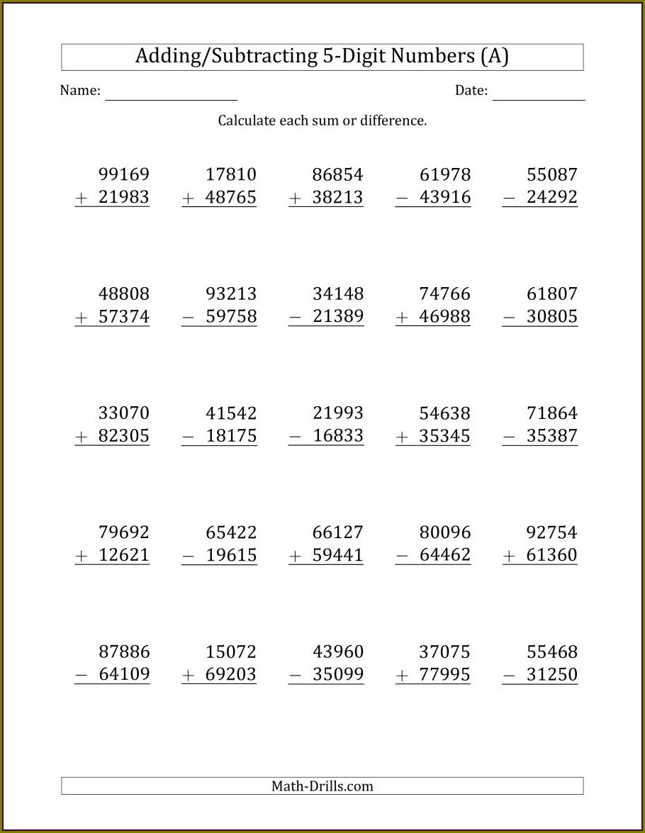 Whole Number Addition And Subtraction Worksheets