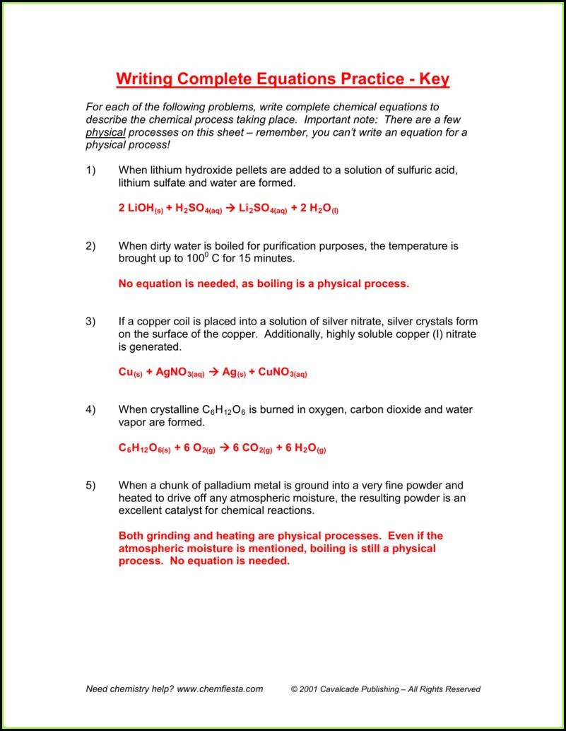 Word And Formula Equations Worksheet Answer Key