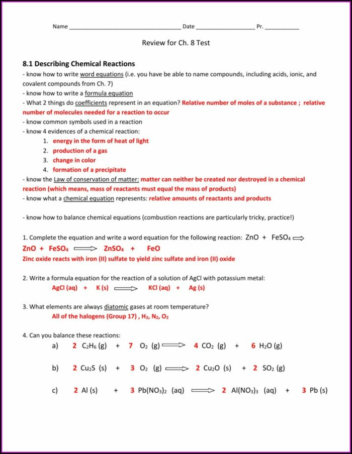 Word Chemical Equations Worksheet Answers