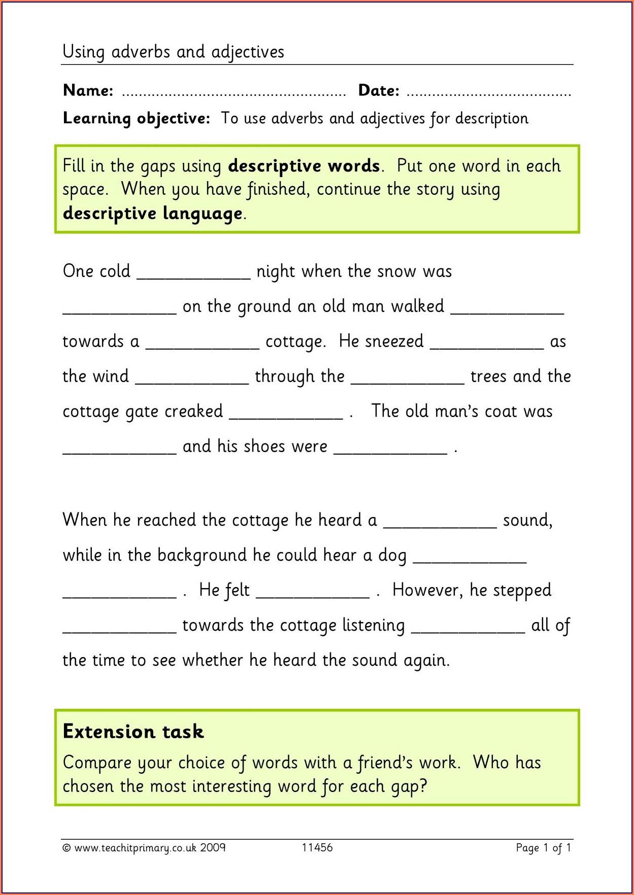 Word Classes Worksheet Y6