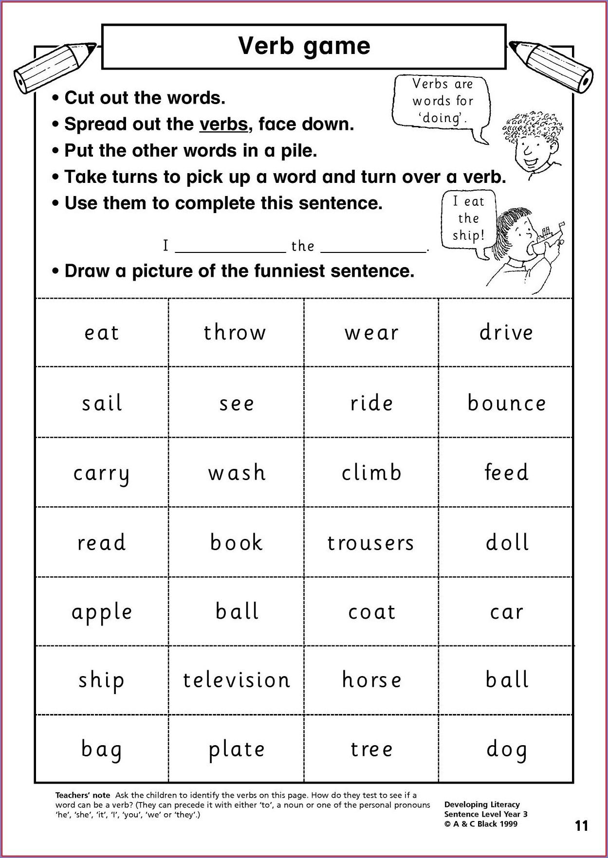 Word Classification Worksheet Ks2