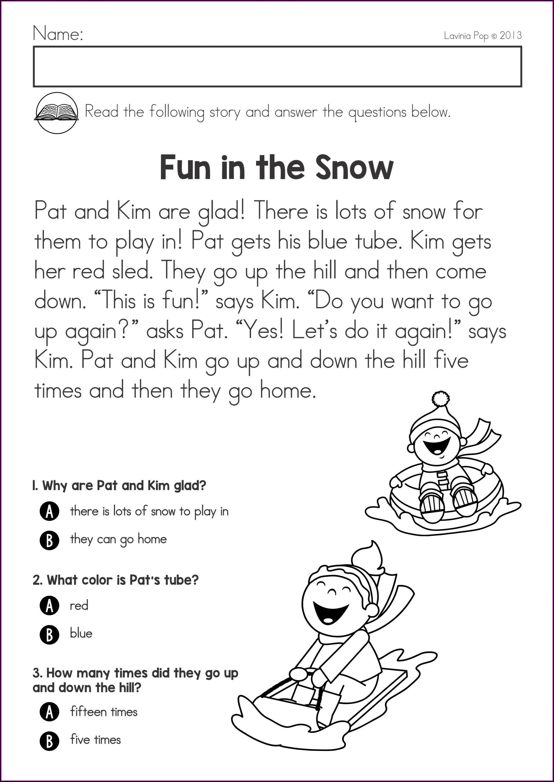 Word Family Comprehension Worksheets