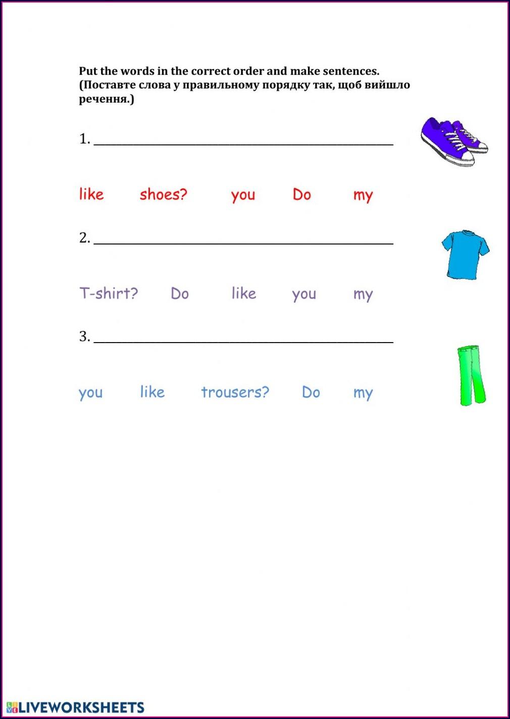 Word Order Worksheet Pdf