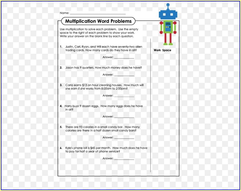 Word Problem Addition Worksheet