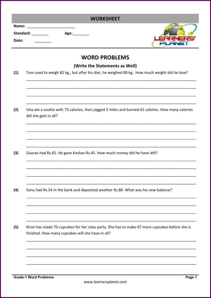 Word Problem Addition Worksheets For Grade 1