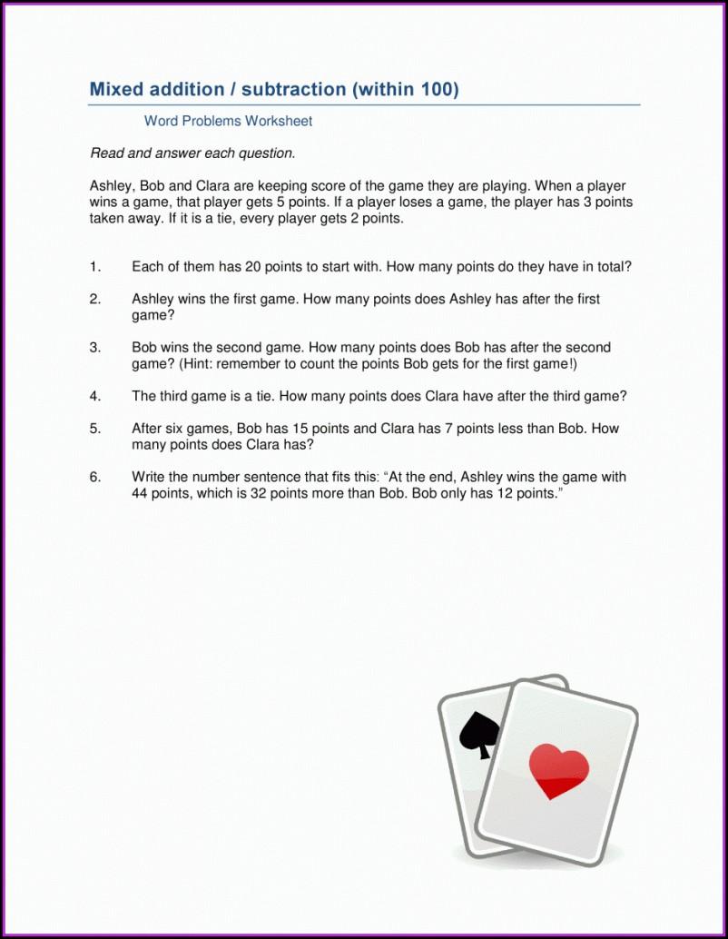 Word Problem Addition Worksheets For Grade 3
