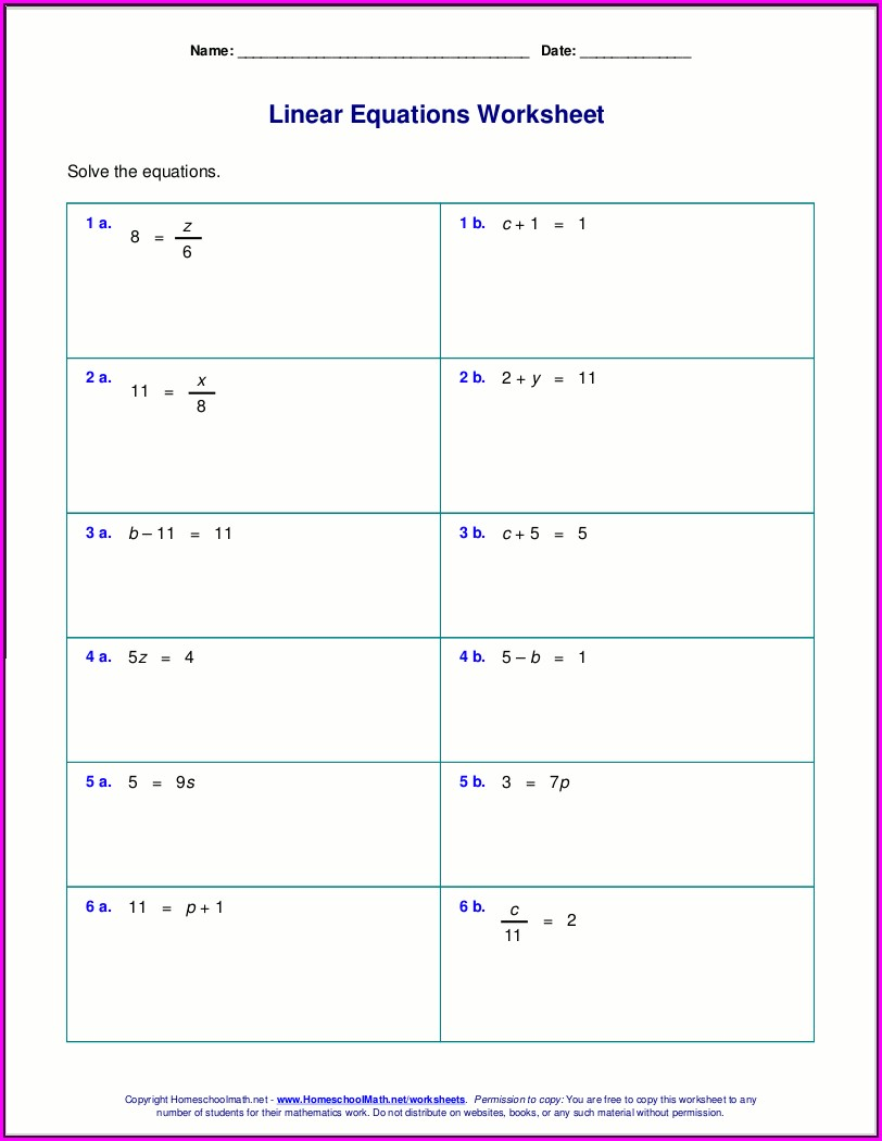 Word Problem Equations Worksheets 6th Grade