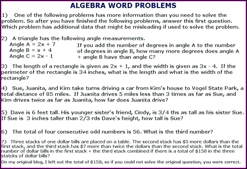 Word Problems Algebraic Equations Worksheet