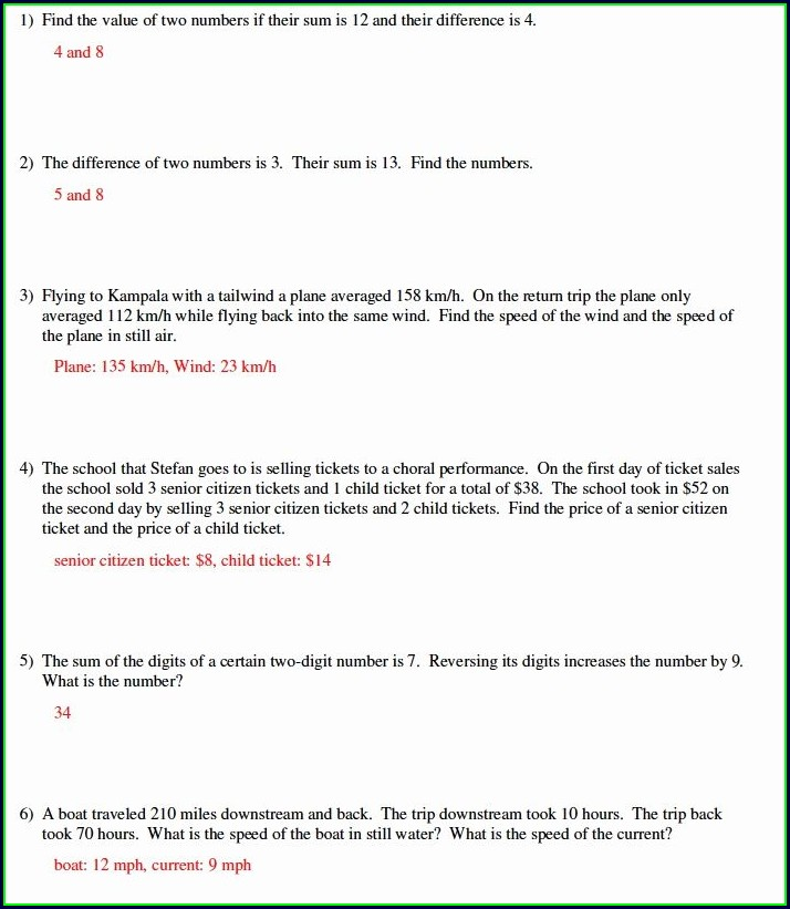 Word Problems Equations Worksheet