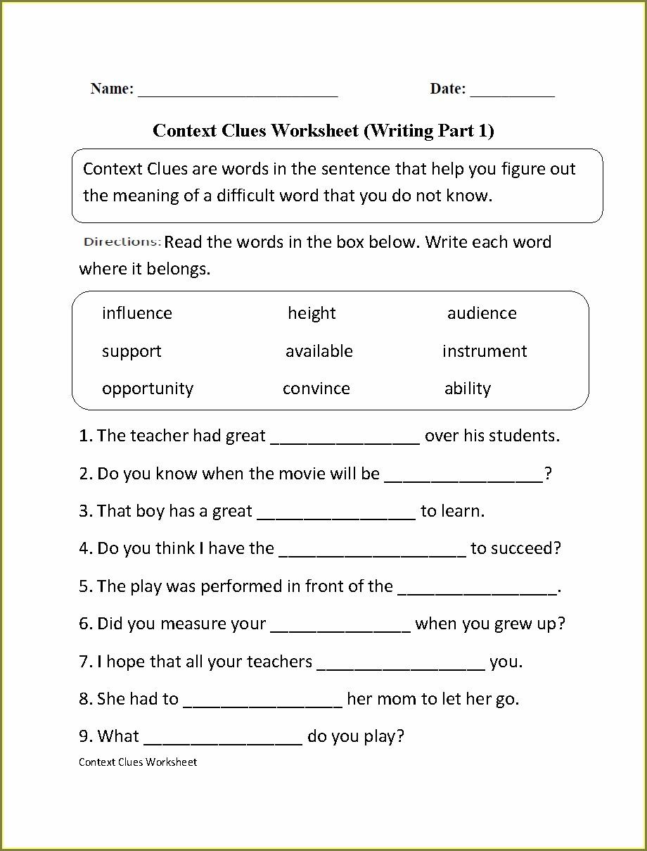 Words In Context Worksheet High School