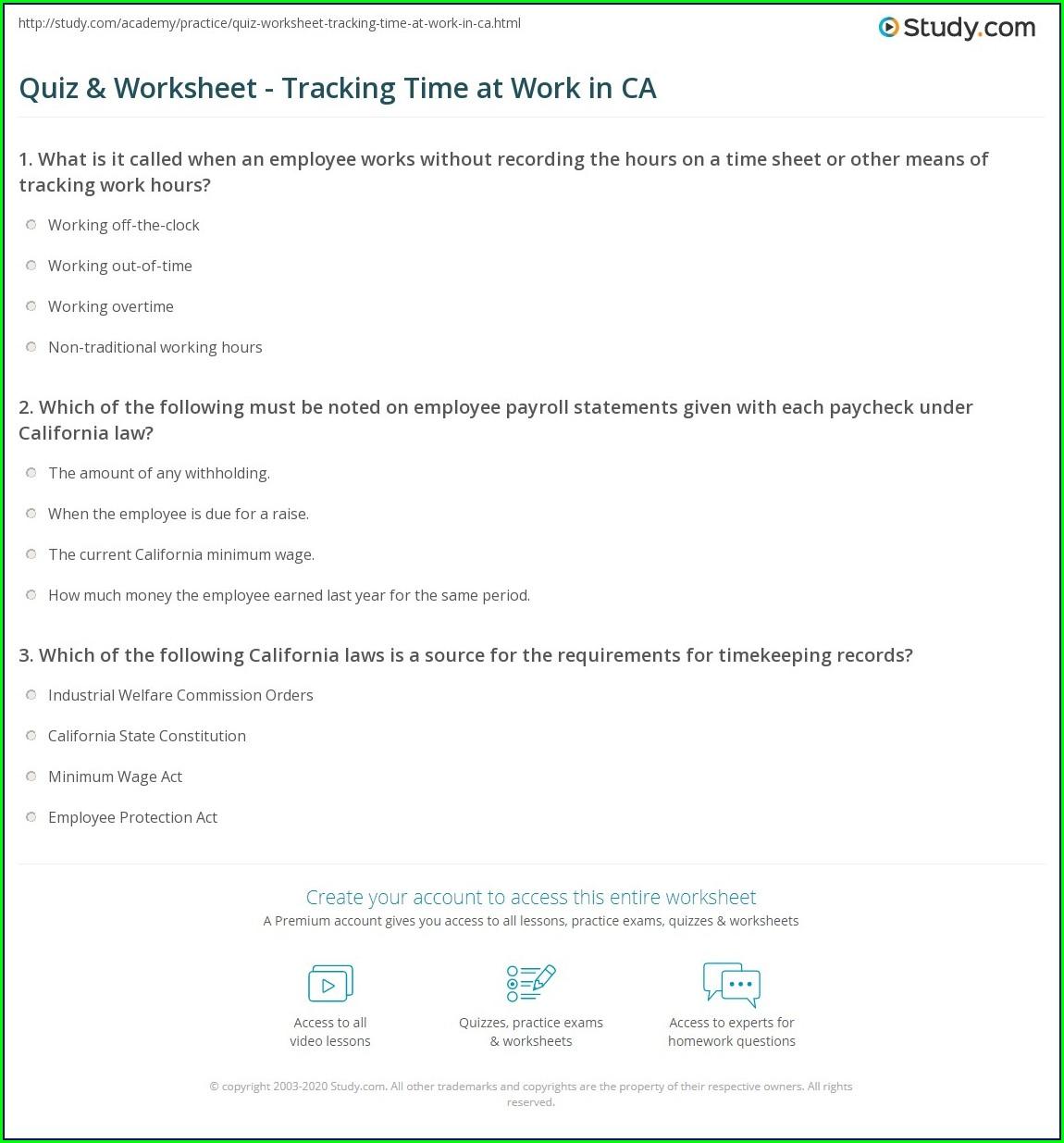 Work Time Study Worksheet