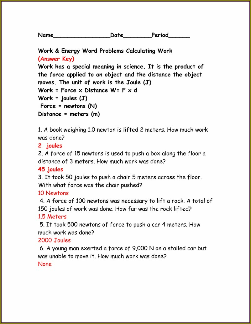 Work Word Problems Worksheet Answers