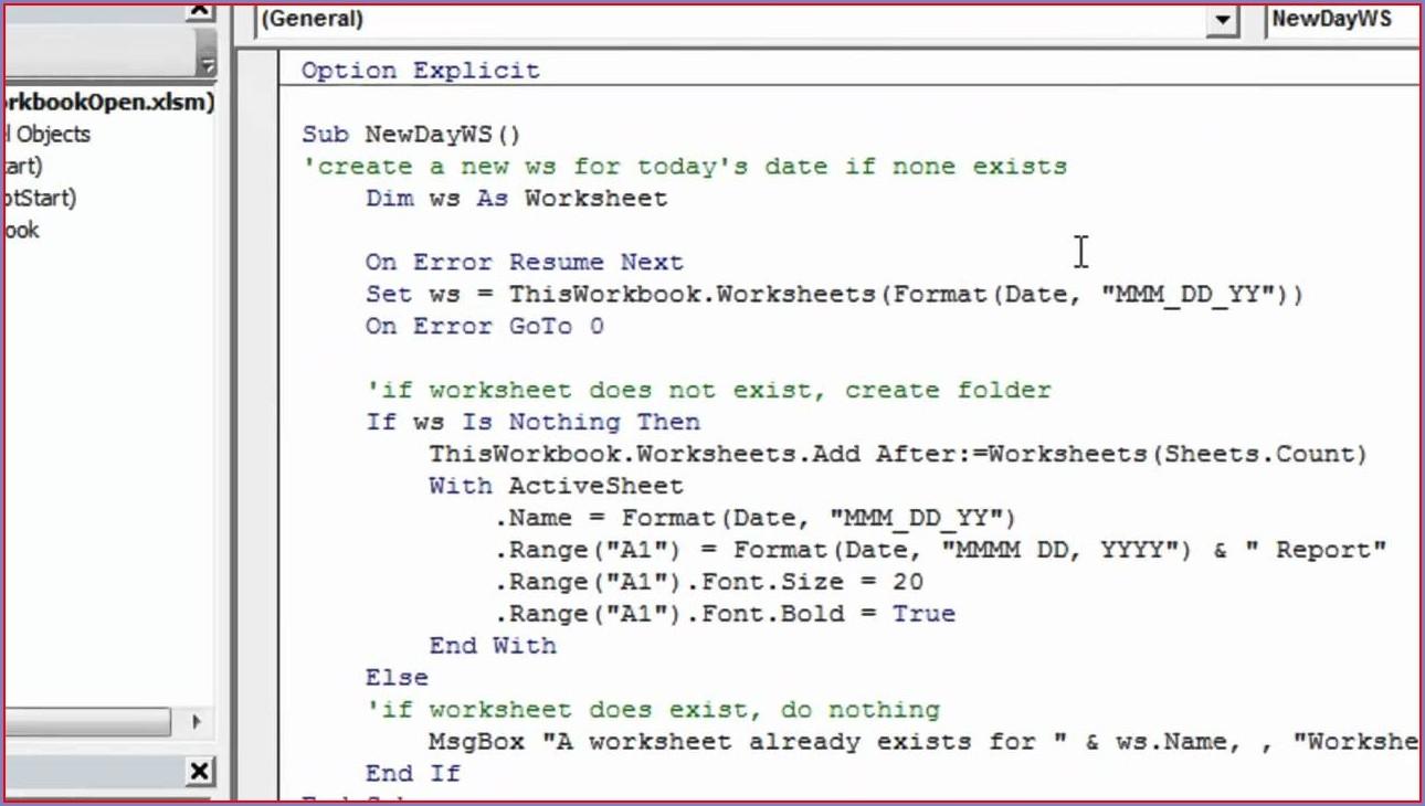 Workbook Open Format Vba