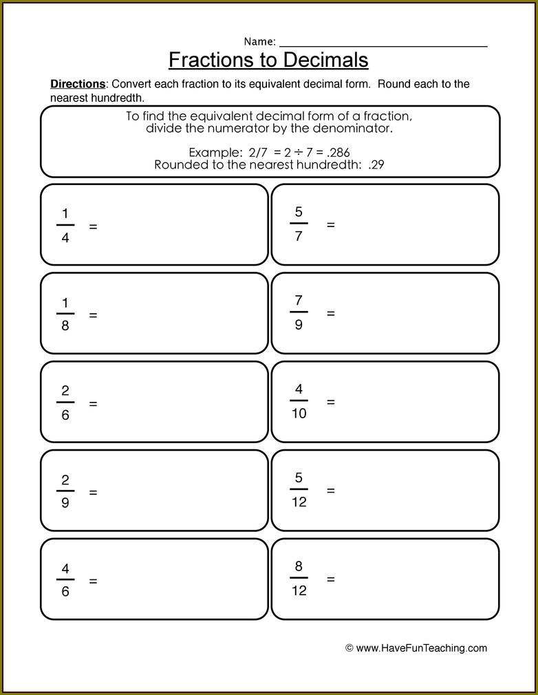 Worksheet Converting Fractions To Decimals