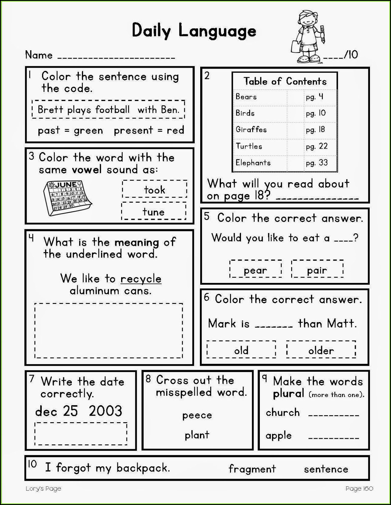 Worksheet Daily Oral Language 3rd Grade