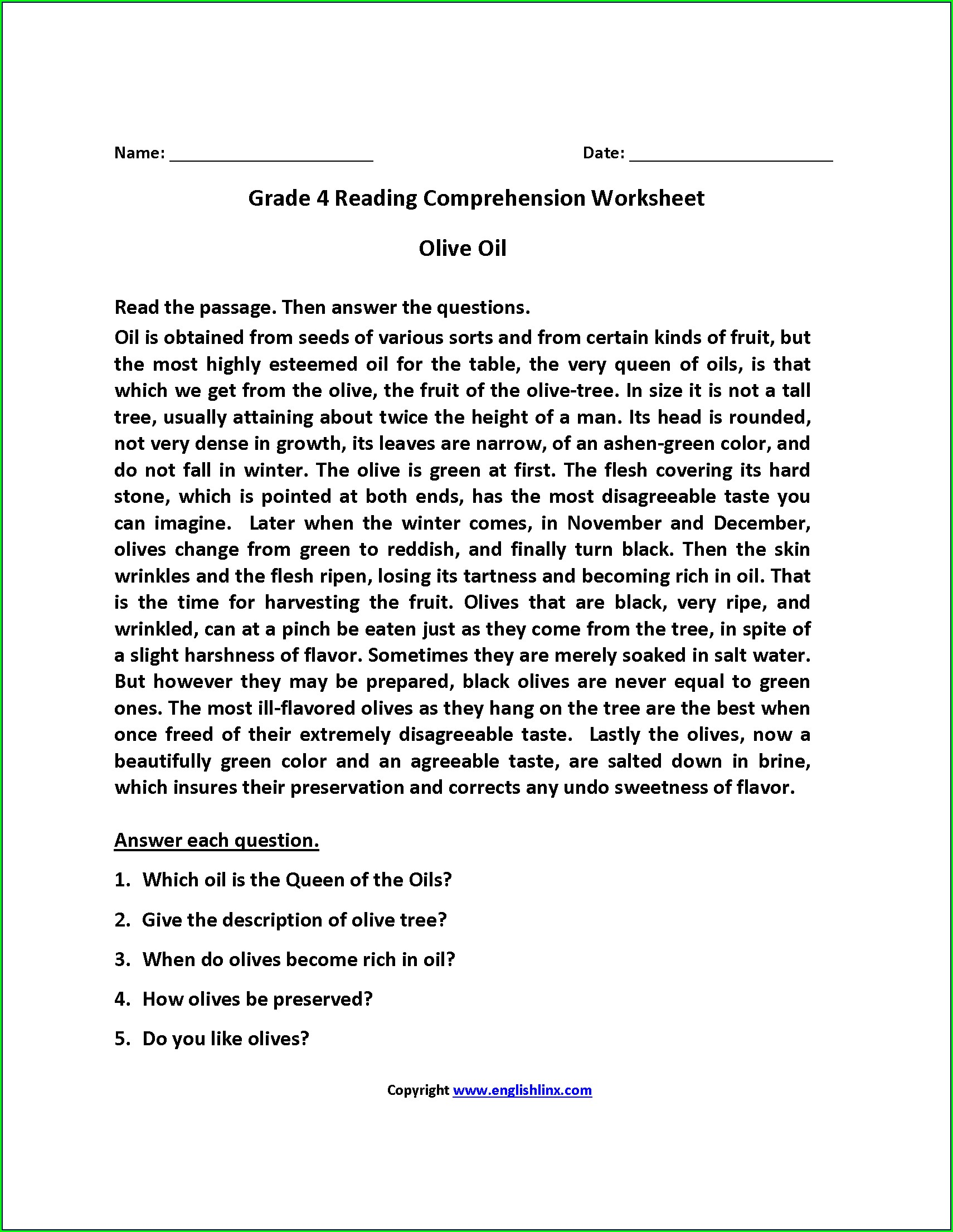Worksheet English Comprehension For Class 5