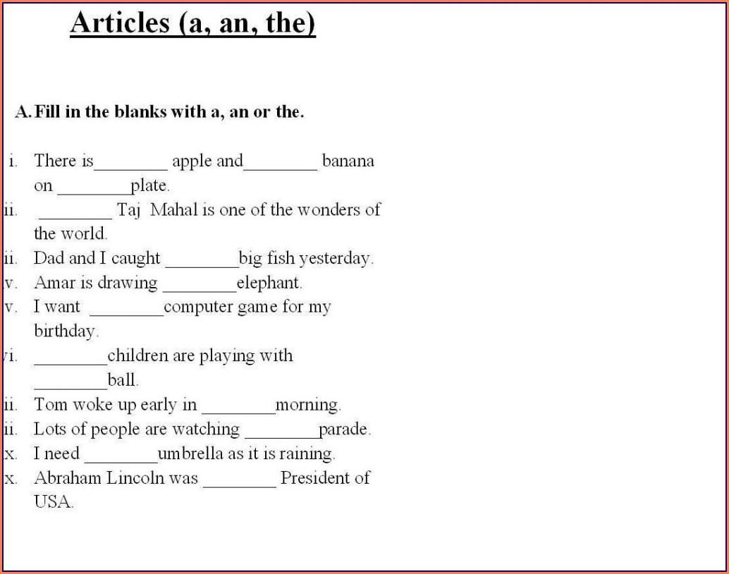 Worksheet English Grammar Free