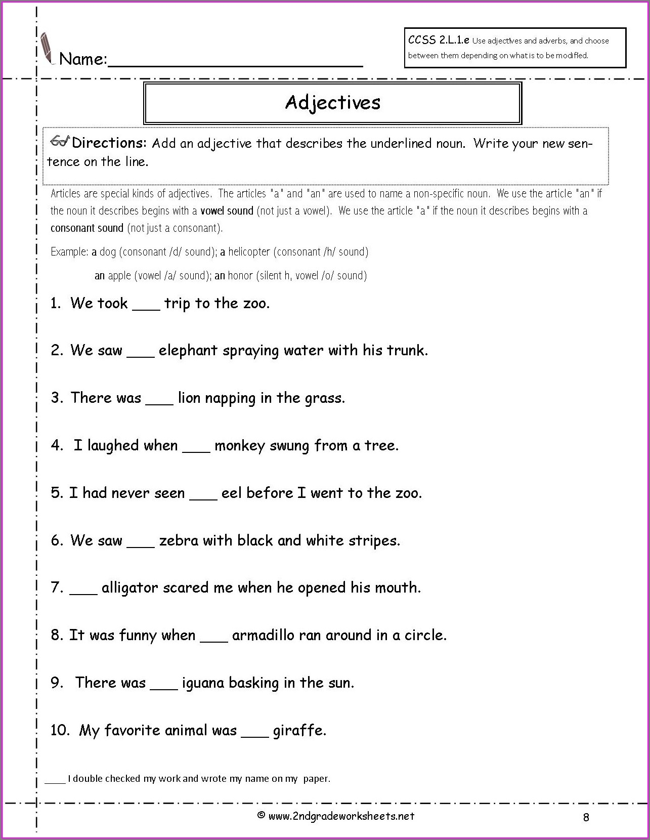 Worksheet English Homework Year 4