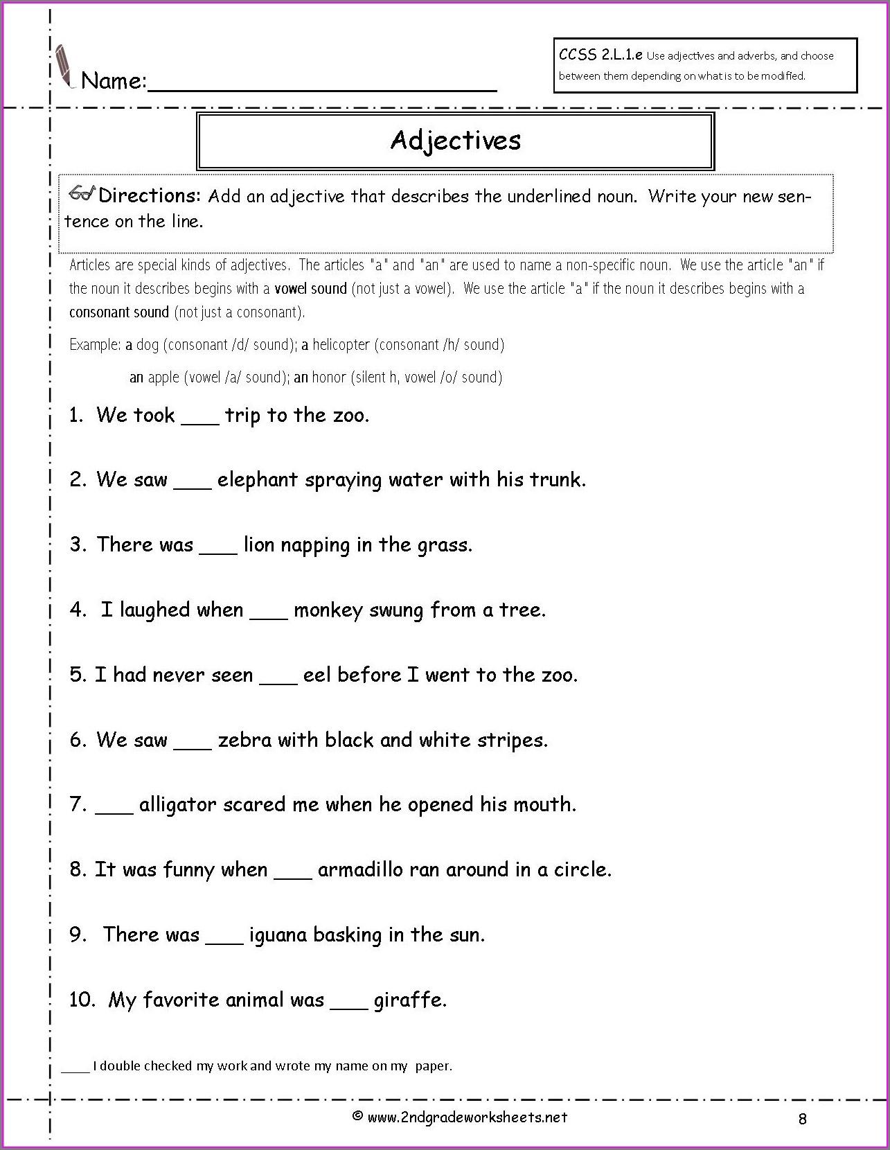 Worksheet English Year 2 Exercise