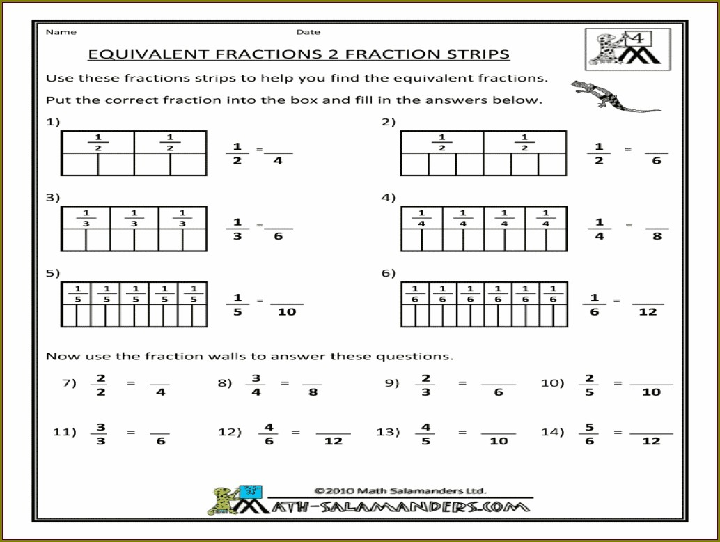 Worksheet Equivalent Fractions 3rd Grade