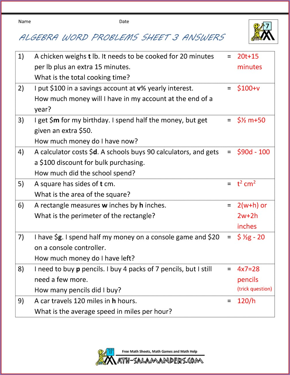 Worksheet For Algebraic Expressions Class 6
