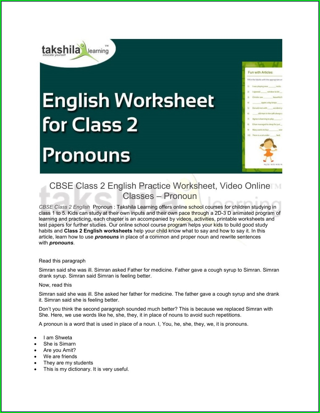 Worksheet For Class 6 English Grammar
