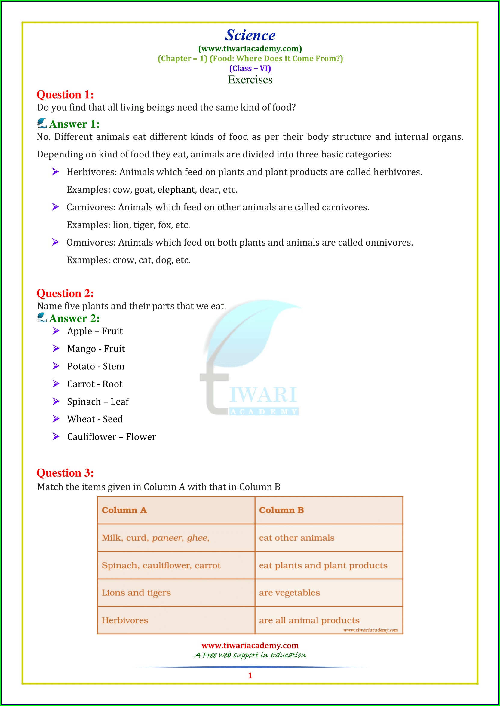 Worksheet For Class 6 Science Chapter 1