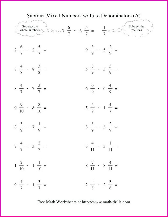 Worksheet For Fractions Pdf