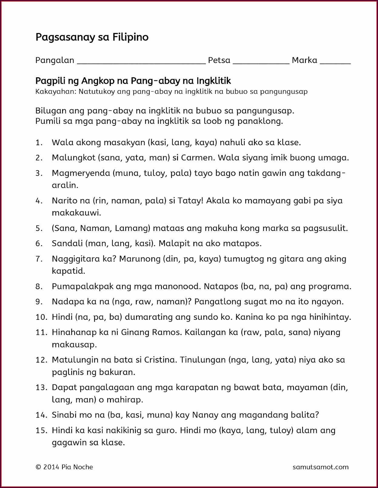 Pagbasa Sa Filipino Grade 2 Worksheets Worksheet Resume
