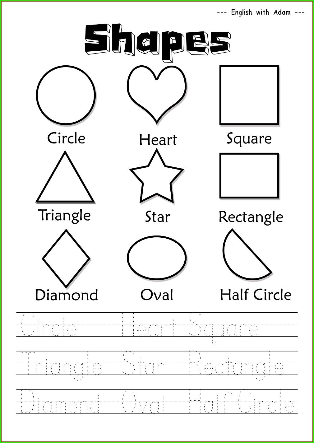 Worksheet For Kindergarten Shapes