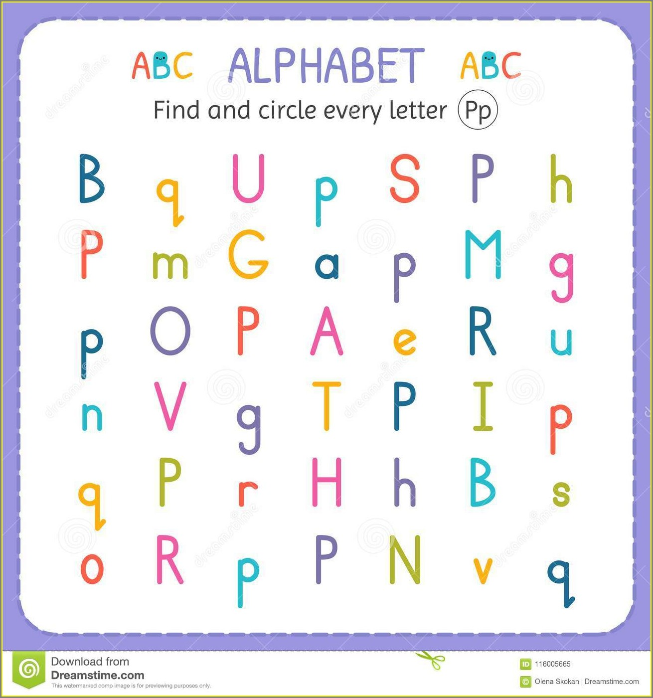 Worksheet For Letter P For Preschool