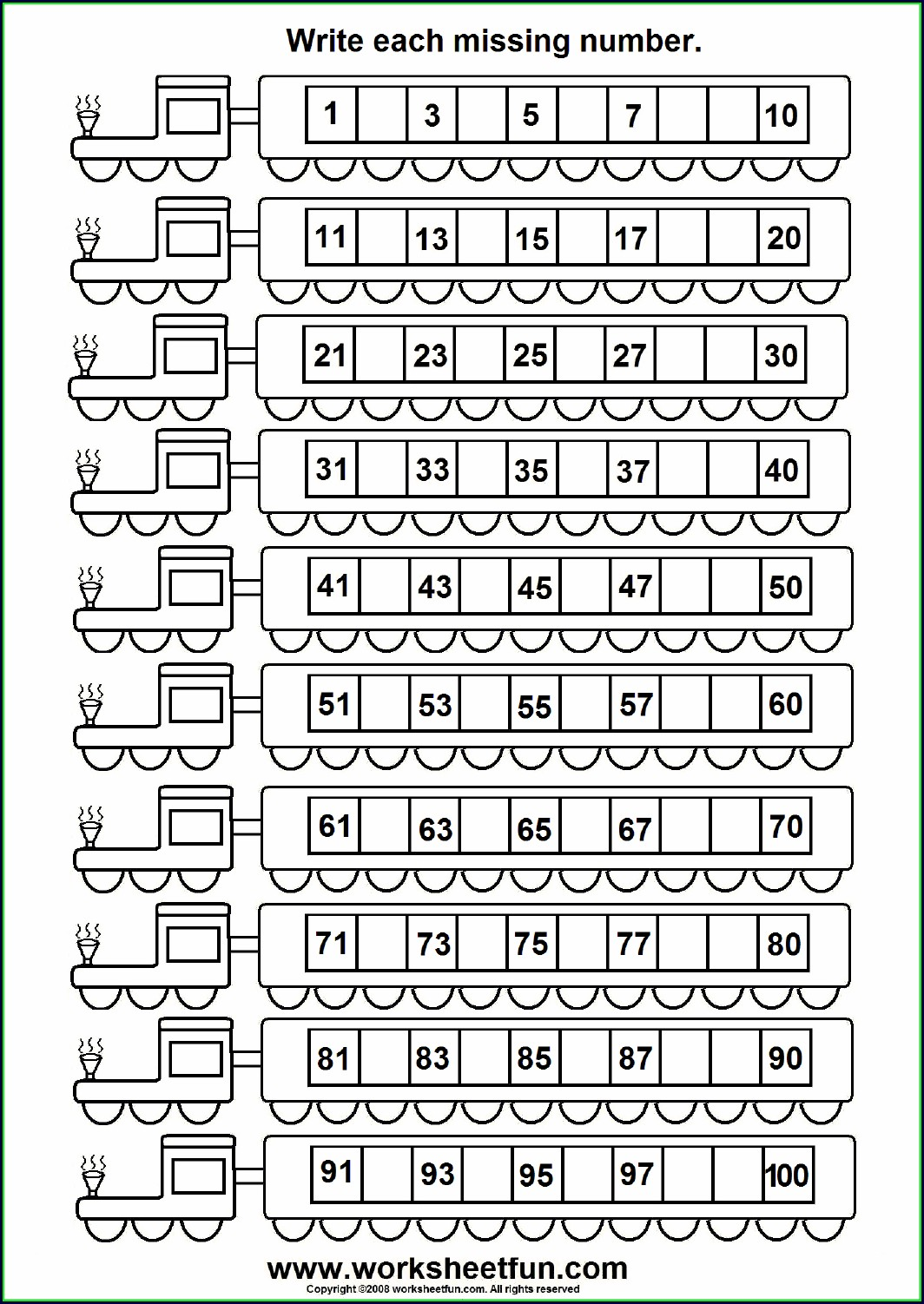 Worksheet For Missing Numbers 1 50