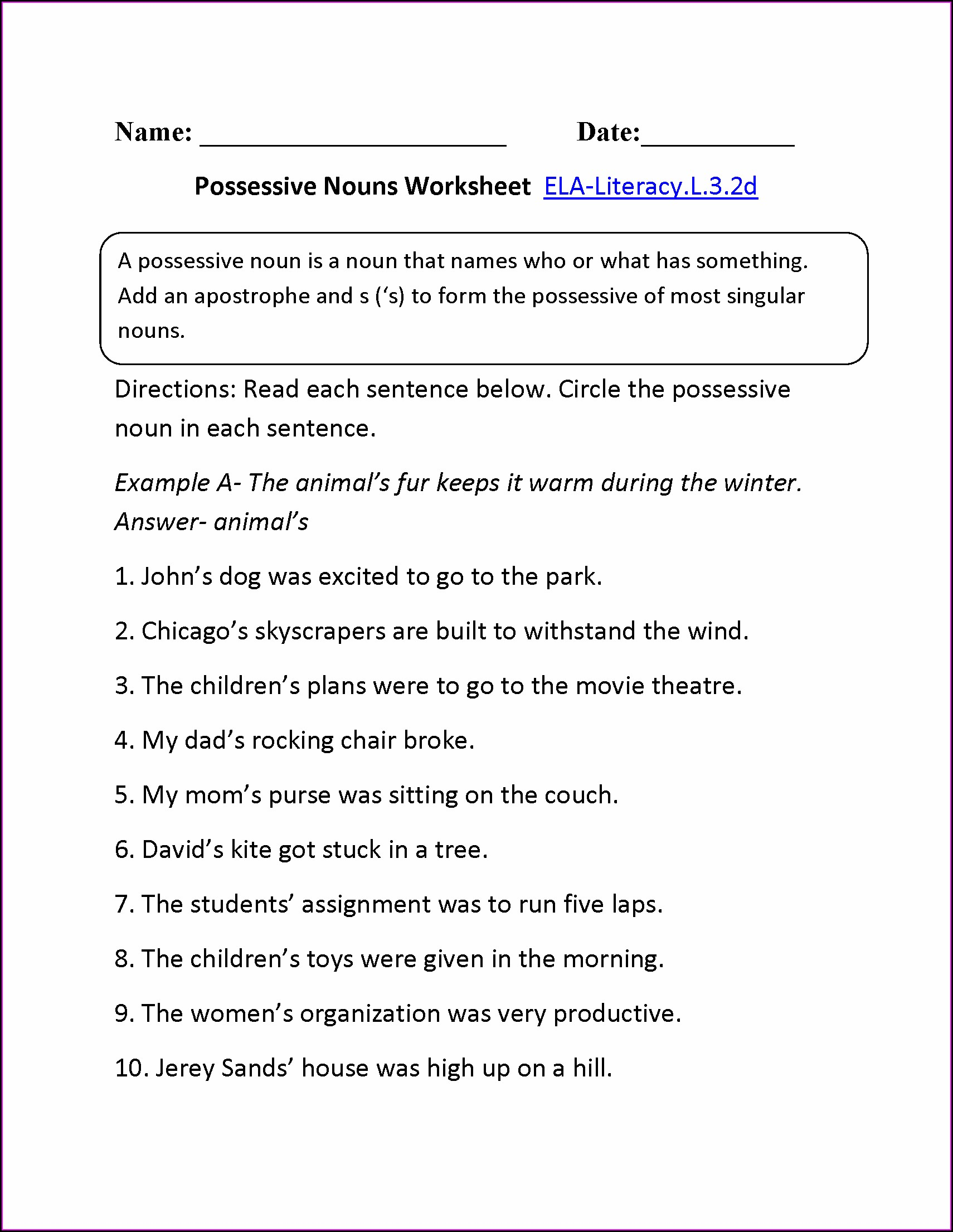 Worksheet For Pronouns For Grade 2