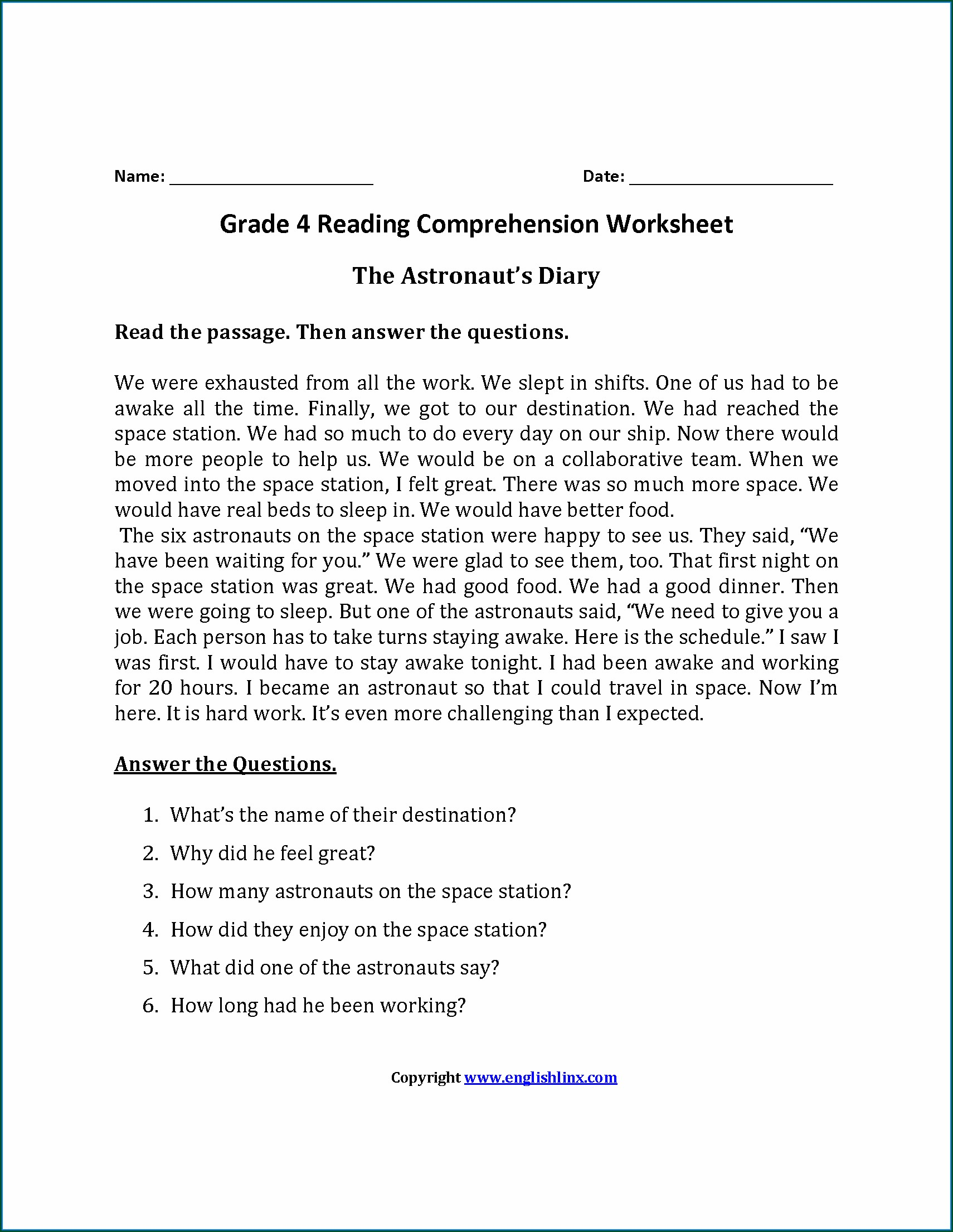 Worksheet For Year 5 Comprehension
