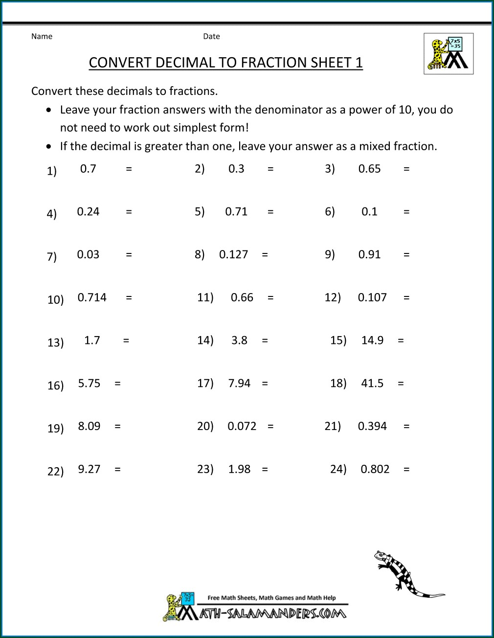 Worksheet Fractions To Decimals