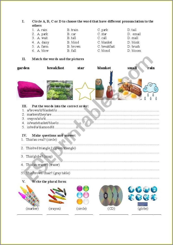 Worksheet Grade 3 English
