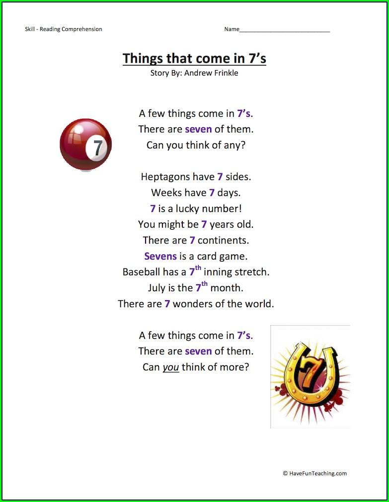 Worksheet In Reading Comprehension